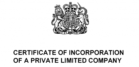 Certificate of Incorporation Companies House
